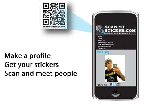 Make your profile - Get your stickers - Scan and meet people - Show coupons to Save!